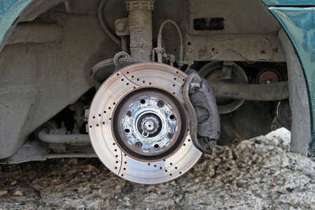 Ventilated disc brake with caliper and pads Stock Photo - 19477691
