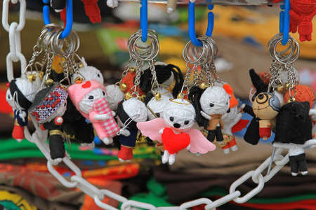 manipulating: Voodoo dolls for magical manipualtion ouvenir pendants Stock Photo