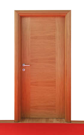 hinged: Classic style brown wood door in home