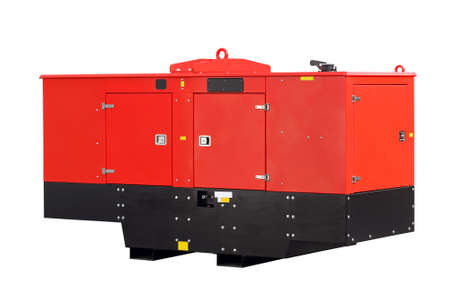 diesel generator: Mobile electric power generator  isolated at white