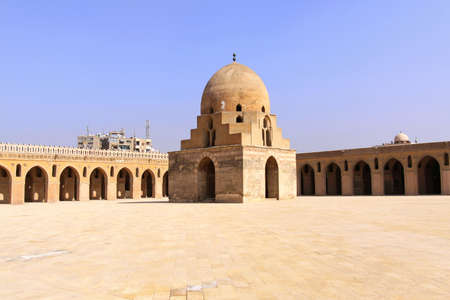 cairo: Dome containing the ablutions fountain in courtyard of the Ibn Tulun Mosque in Cairo Stock Photo