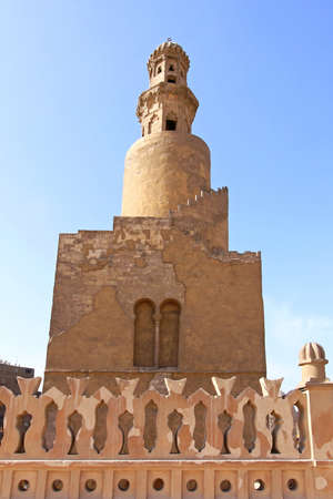 ibn: Famous spiral minaret of Ibn Tulun Mosque in Cairo