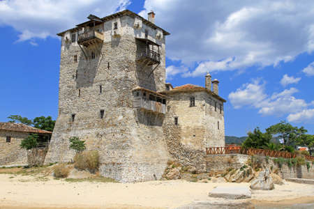 Medieval Ouranopoli tower at Aegean sea in Greece Editorial