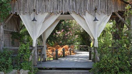 Entrada de la cabina con madera del patio y el jardín Foto de archivo - 20470060