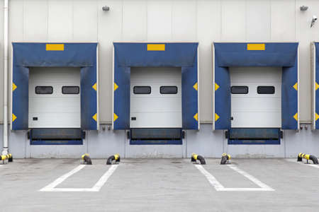 Three loading ramp doors at distribution warehouse