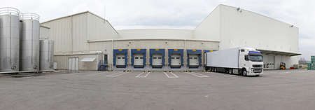 Exterior of distribution warehouse with logistics center
