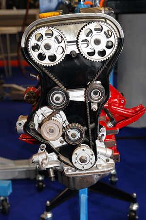 Open cover of timing belt drive in automobile engine Archivio Fotografico
