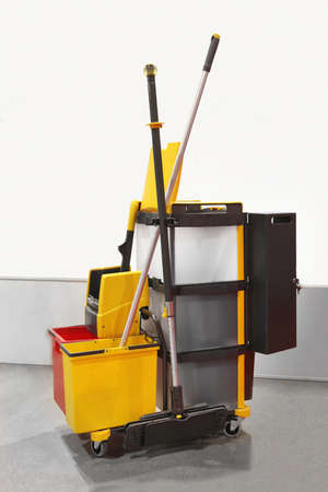 Heavy duty plastic janitorial cart with all equipment