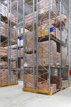 High shelves in distribution center warehouse