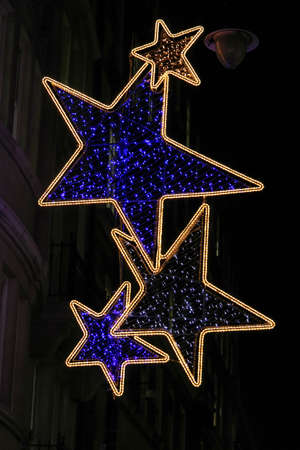 led stars christmas lights street decor stock photo 22348998