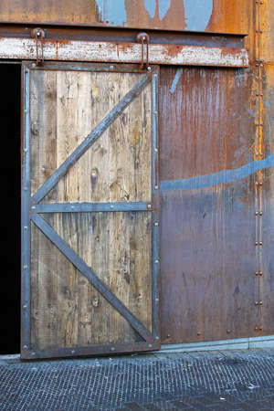 Heavy Old Wooden Sliding Door On Warehouse Entry Stock Photo   23236403