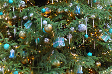 beautiful christmas tree with gifts and icicles stock photo 24057762 - Icicles For Christmas Tree