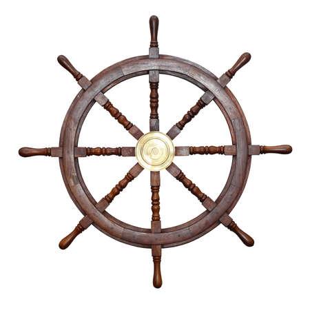 Holz-Schiff-Rad isoliert inklusive Beschneidungspfad Standard-Bild - 24633990