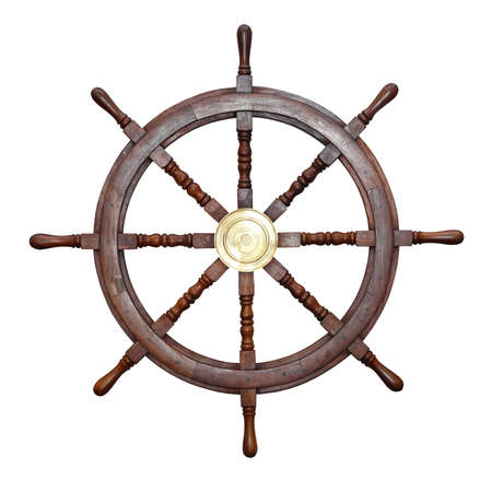 Wooden ship wheel isolated included clipping path Фото со стока
