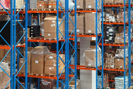 High rack shelving system in distribution warehouse Stock Photo
