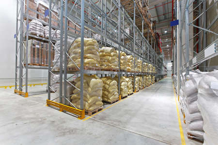 Food distribution warehouse with sacks and bags Archivio Fotografico