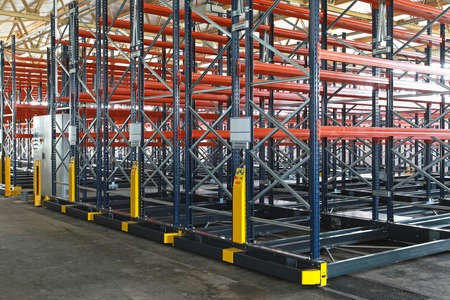 Powered mobile shelving system in archive storage