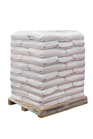 Food in sacks at transport pallet isolated