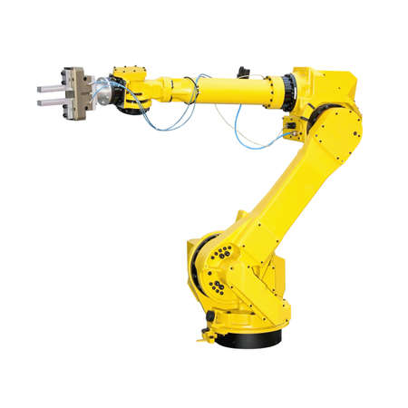 Yellow robot arm for industry isolated