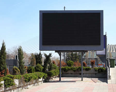 Empty black digital billboard screen for advertising Фото со стока