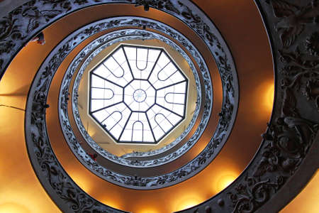 ROME, ITALY - OCTOBER 26  Double Helix Staircase in Vatican on OCTOBER 26, 2009  The Bramante Staircase with skylight window in Vatican
