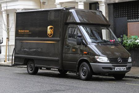 LONDON, UNITED KINGDOM - JANUARY 13  UPS VAN in London on JANUARY 13, 2010  UPS brown van package delivery in London, United Kingdom