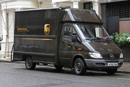 LONDON, UNITED KINGDOM - JANUARY 13  UPS VAN in London on JANUARY 13, 2010  UPS brown van package delivery in London, United Kingdom