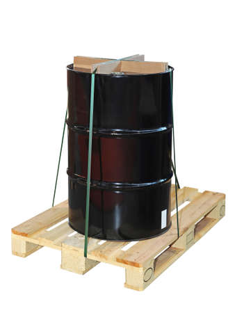 Barrel at pallet isolated included clipping path photo