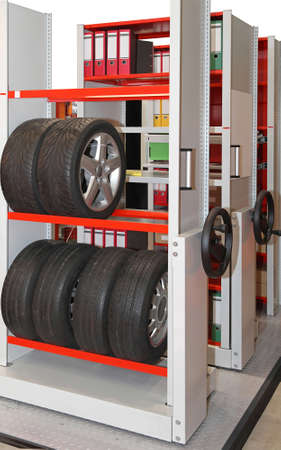 storage warehouse: Mobile shelving high density system in storage room