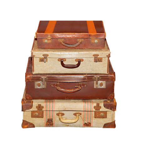 Stack Of Vintage Luggage Suitcase Isolated Included Clipping Path Photo