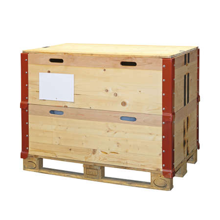 crate: Pallet with wooden crate isolated included clipping path Stock Photo
