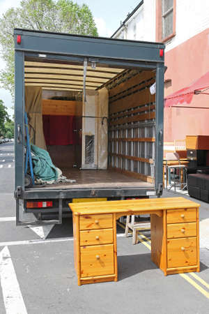 Open rear end of moving furniture truck