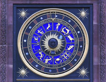 LONDON, UNITED KINGDOM - JANUARY 25 Zodiac clock in London on JANUARY 25, 2013 Astrological clock at Bracken House in London, United Kingdom Editorial