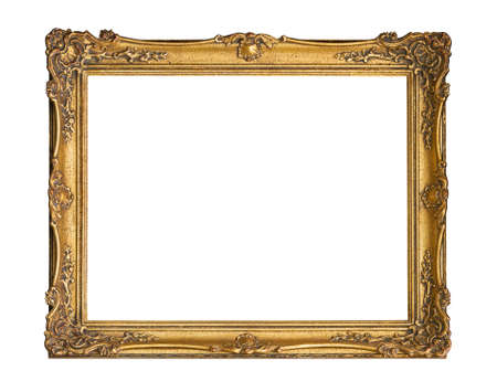 Gold picture frame isolated included clipping path