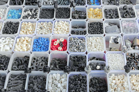 Rubber and plastic parts in trays 스톡 콘텐츠