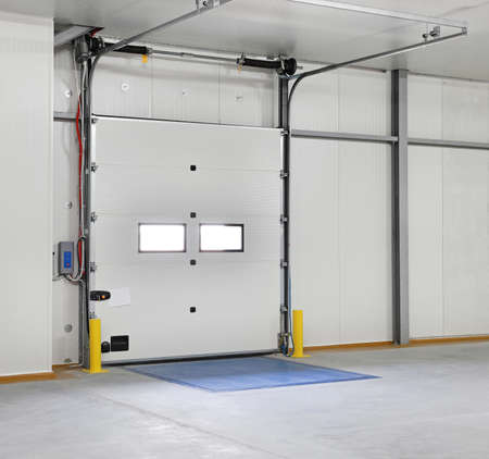 Closed roll door in distribution warehouse