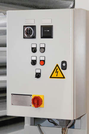 Electric control box with push buttons and switches