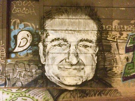 베오그라드 세르비아에서 로빈 윌리엄스 추모 기념 낙서 벽화 스톡 콘텐츠
