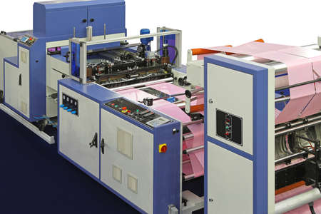 Machine for plastic bags production from roll Foto de archivo