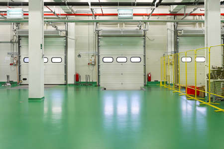 Loading dock interior in new distribution warehouse
