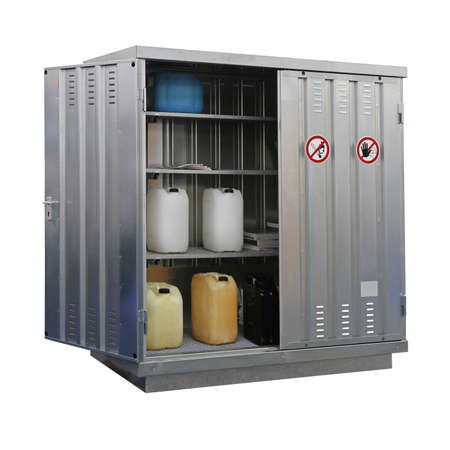 Storage of hazardous and combustible materials locker isolated