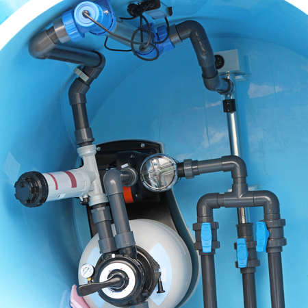 Swimming pool water plumbing fittings and utilities