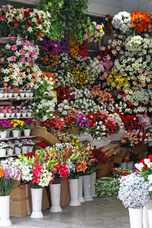 Bouquets Of Artificial Flowers In Flower Shop Stock Photo Picture