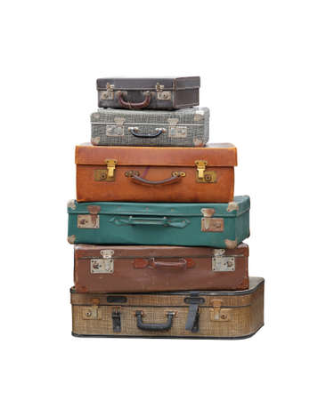 Stapel uitstekende koffer bagage geïsoleerd opgenomen Stockfoto