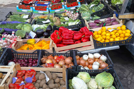 Various vegetables and fruits at Farmers market Stock Photo