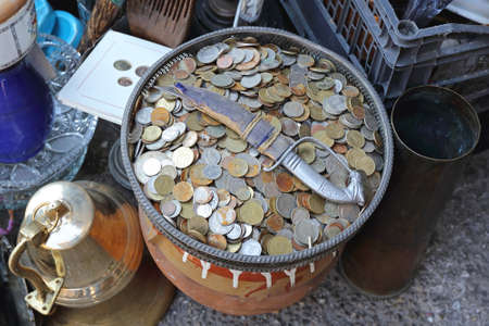 Bunch of Old Coins in Tray at Flea Market Stock Photo - 40919185