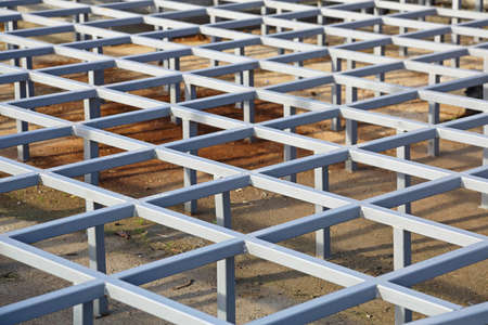 Raised Steel Floor Structure System Stock Photo