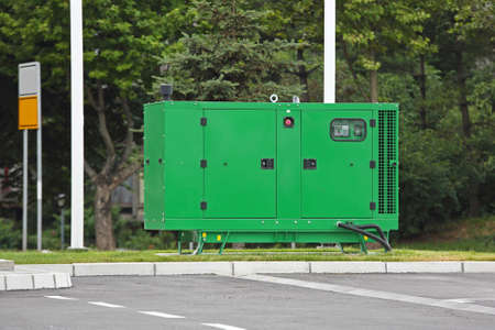 Auxiliary Diesel Generator voor Emergency Electric Power Stockfoto
