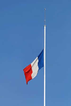 French Flag Half Staff at Flagpole
