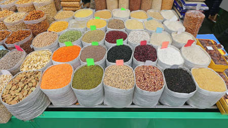Rice and Beans Groceries in Bulk Bags at Market Stock Photo